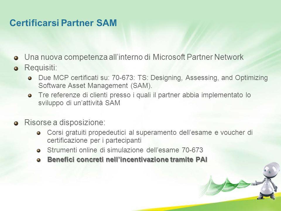 Certificarsi Partner SAM Una nuova competenza allinterno di Microsoft Partner Network Requisiti: Due MCP certificati su: 70-673: TS: Designing, Assess