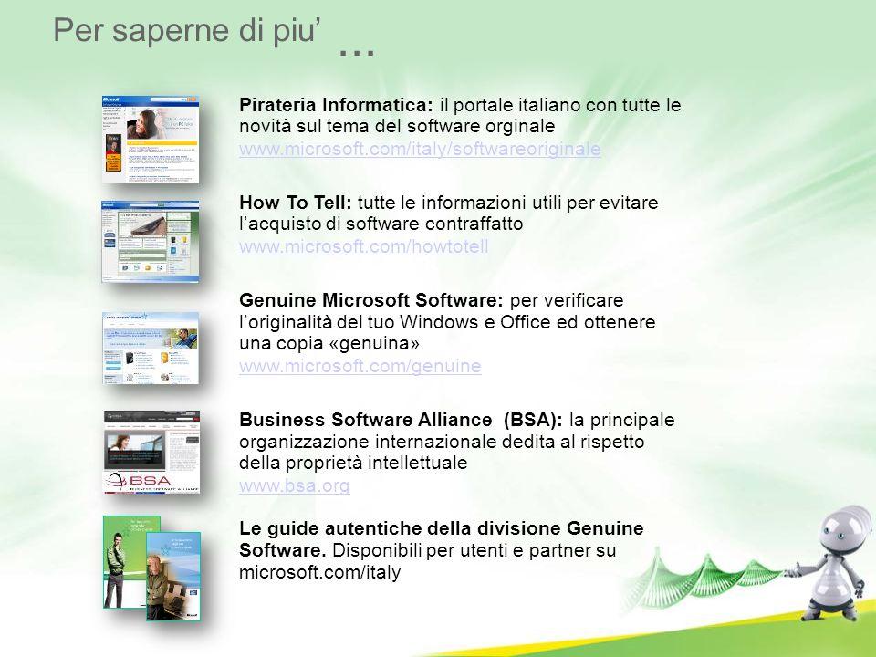Per saperne di piu... Pirateria Informatica: il portale italiano con tutte le novità sul tema del software orginale www.microsoft.com/italy/softwareor