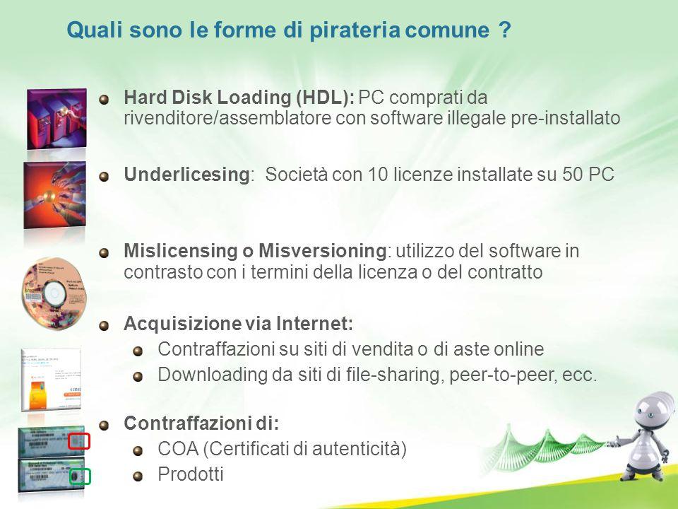 Hard Disk Loading (HDL): PC comprati da rivenditore/assemblatore con software illegale pre-installato Underlicesing: Società con 10 licenze installate
