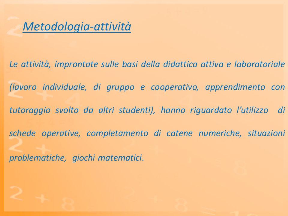 Metodologia-attività Le attività, improntate sulle basi della didattica attiva e laboratoriale (lavoro individuale, di gruppo e cooperativo, apprendim