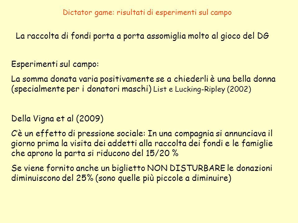 Dictator game: risultati di esperimenti sul campo La raccolta di fondi porta a porta assomiglia molto al gioco del DG Esperimenti sul campo: La somma