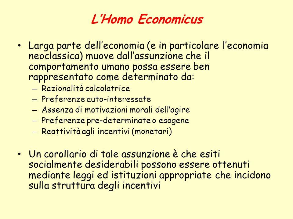 LHomo Economicus Larga parte delleconomia (e in particolare leconomia neoclassica) muove dallassunzione che il comportamento umano possa essere ben ra