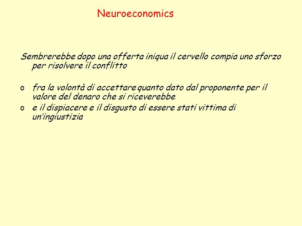 Neuroeconomics Sembrerebbe dopo una offerta iniqua il cervello compia uno sforzo per risolvere il conflitto ofra la volontà di accettare quanto dato d