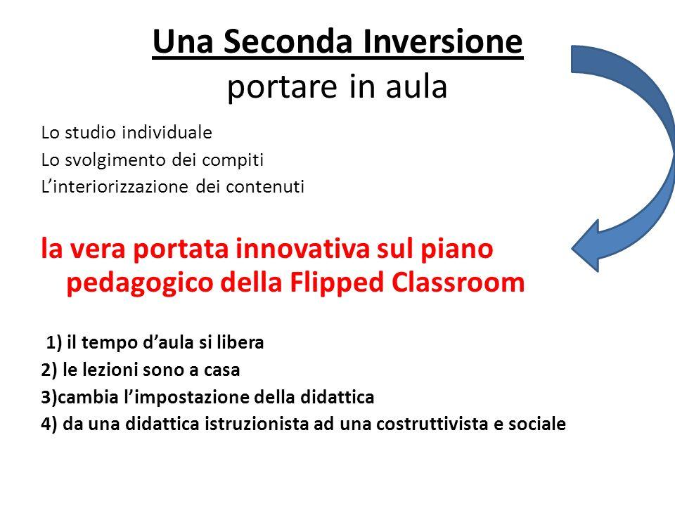 Una Seconda Inversione portare in aula Lo studio individuale Lo svolgimento dei compiti Linteriorizzazione dei contenuti la vera portata innovativa su