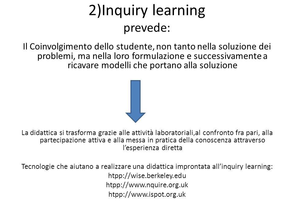 2)Inquiry learning prevede: Il Coinvolgimento dello studente, non tanto nella soluzione dei problemi, ma nella loro formulazione e successivamente a r