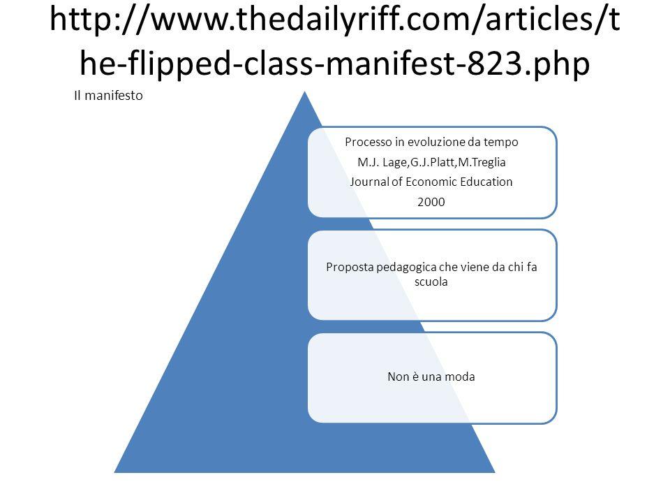 http://www.thedailyriff.com/articles/t he-flipped-class-manifest-823.php Il manifesto Processo in evoluzione da tempo M.J. Lage,G.J.Platt,M.Treglia Jo