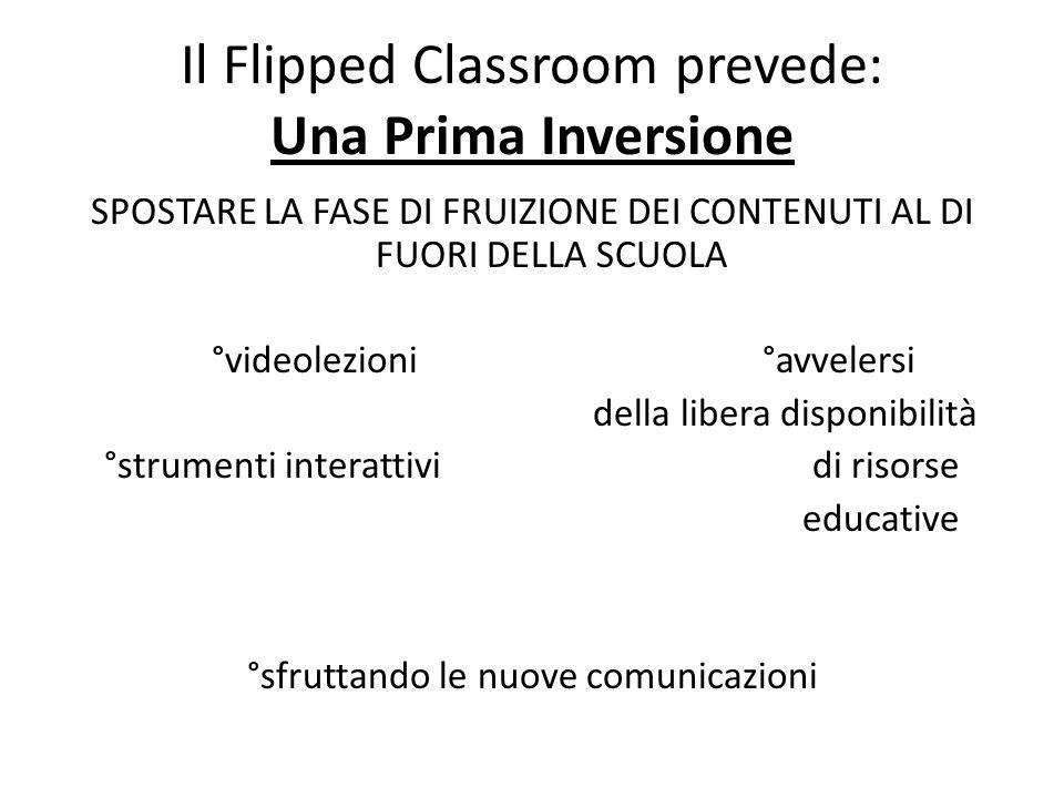 Il Flipped Classroom prevede: Una Prima Inversione SPOSTARE LA FASE DI FRUIZIONE DEI CONTENUTI AL DI FUORI DELLA SCUOLA °videolezioni °avvelersi della
