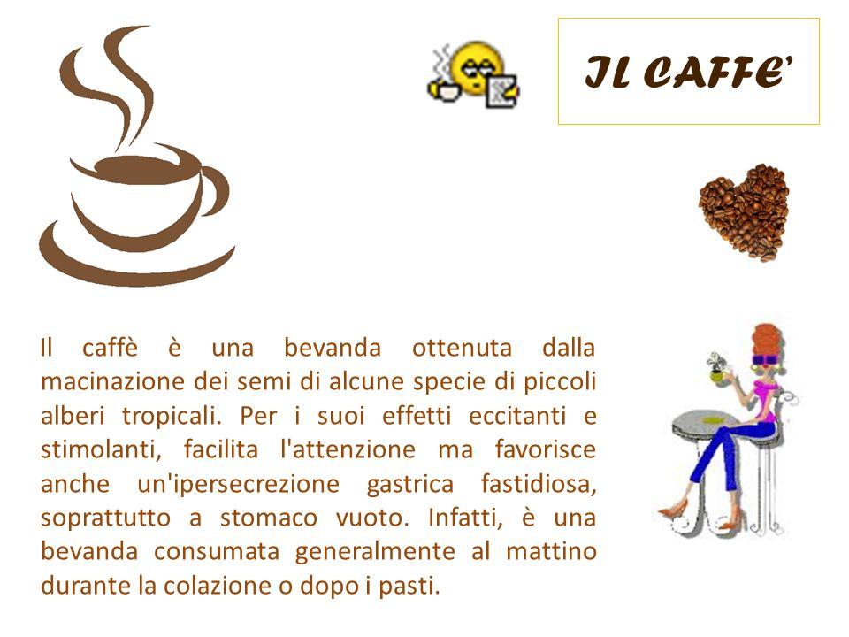 IL CAFFE Il caffè è una bevanda ottenuta dalla macinazione dei semi di alcune specie di piccoli alberi tropicali. Per i suoi effetti eccitanti e stimo