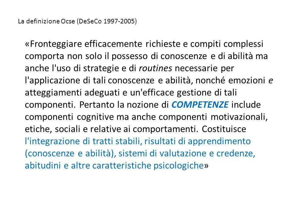 La definizione Ocse (DeSeCo 1997-2005) «Fronteggiare efficacemente richieste e compiti complessi comporta non solo il possesso di conoscenze e di abil