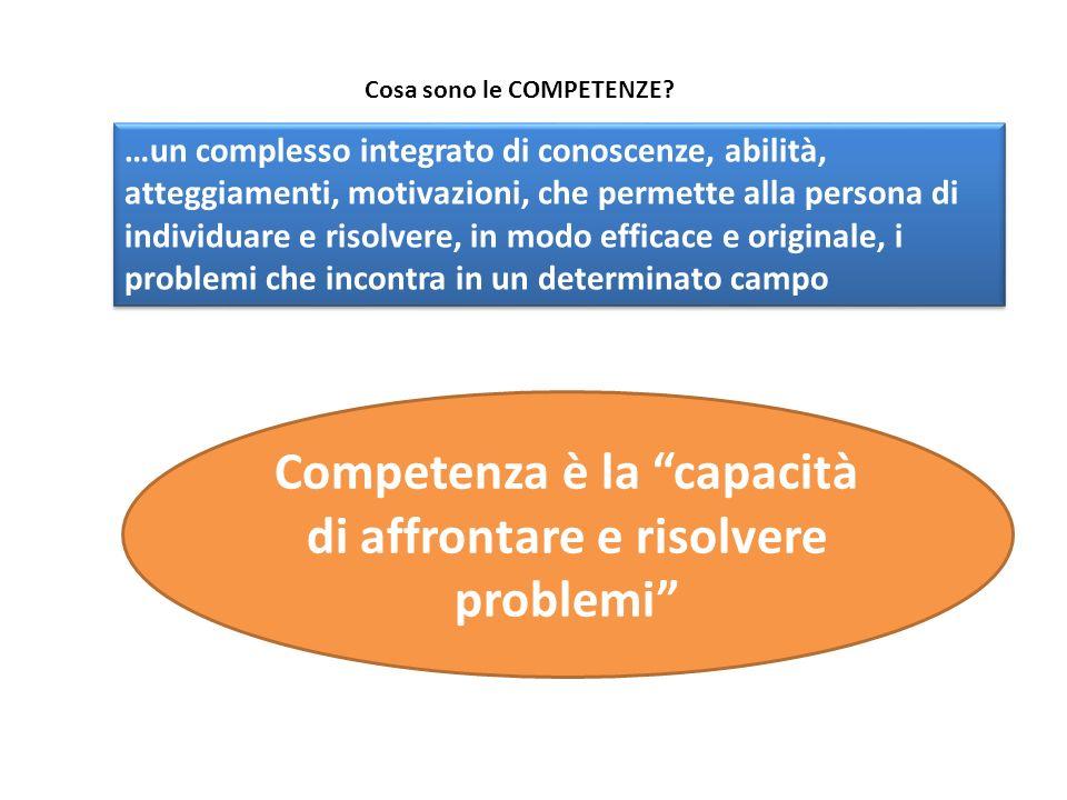 …un complesso integrato di conoscenze, abilità, atteggiamenti, motivazioni, che permette alla persona di individuare e risolvere, in modo efficace e o