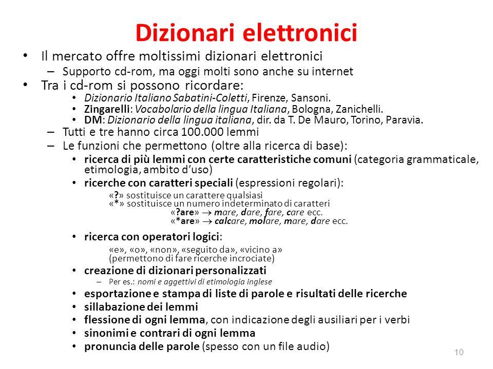 Dizionari elettronici Il mercato offre moltissimi dizionari elettronici – Supporto cd-rom, ma oggi molti sono anche su internet Tra i cd-rom si posson