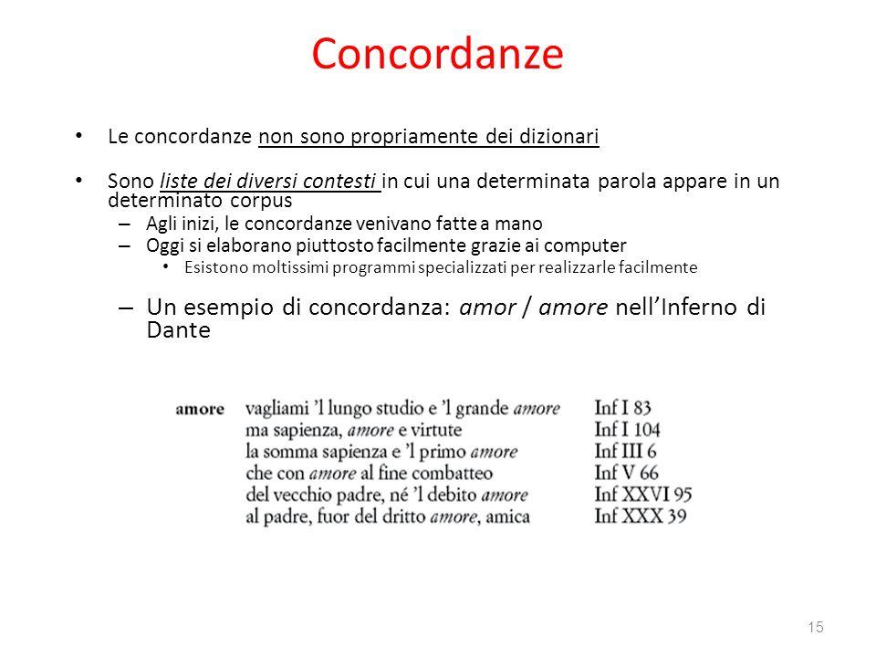 Concordanze Le concordanze non sono propriamente dei dizionari Sono liste dei diversi contesti in cui una determinata parola appare in un determinato