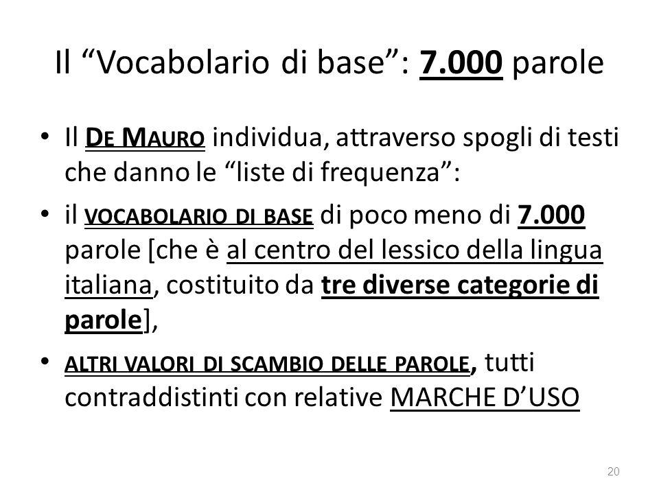Il Vocabolario di base: 7.000 parole Il D E M AURO individua, attraverso spogli di testi che danno le liste di frequenza: il VOCABOLARIO DI BASE di po