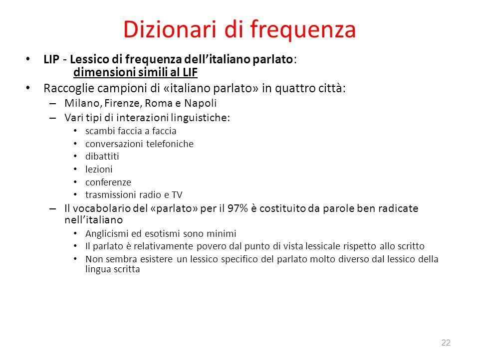 Dizionari di frequenza LIP - Lessico di frequenza dellitaliano parlato: dimensioni simili al LIF Raccoglie campioni di «italiano parlato» in quattro c