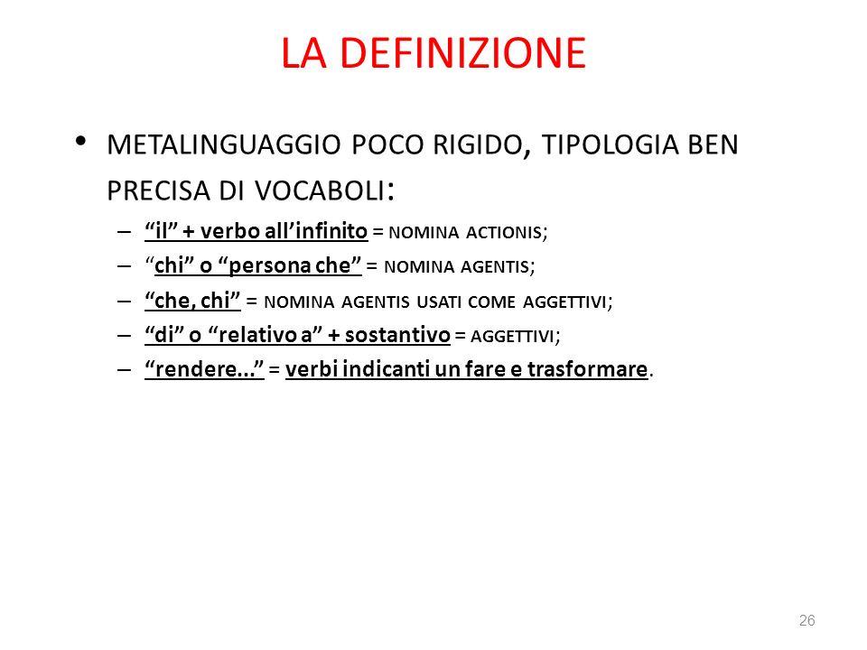 LA DEFINIZIONE METALINGUAGGIO POCO RIGIDO, TIPOLOGIA BEN PRECISA DI VOCABOLI : – il + verbo allinfinito = NOMINA ACTIONIS ; –chi o persona che = NOMIN
