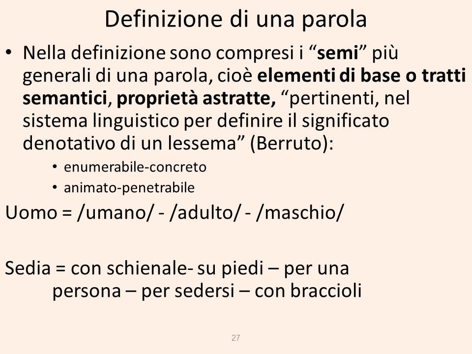 Definizione di una parola Nella definizione sono compresi i semi più generali di una parola, cioè elementi di base o tratti semantici, proprietà astra