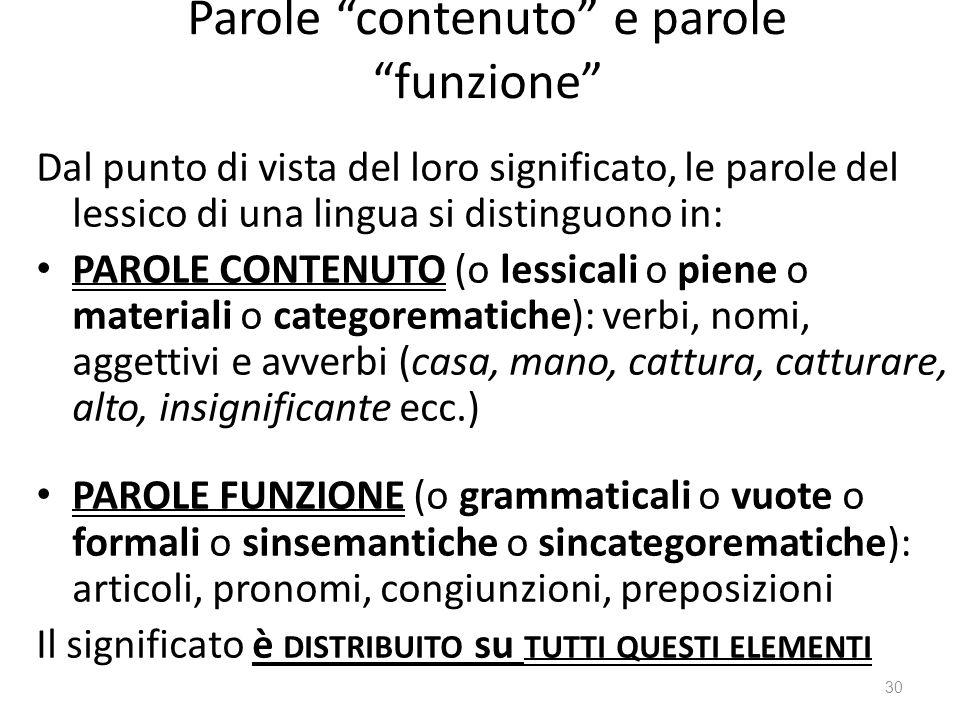 Parole contenuto e parole funzione Dal punto di vista del loro significato, le parole del lessico di una lingua si distinguono in: PAROLE CONTENUTO (o