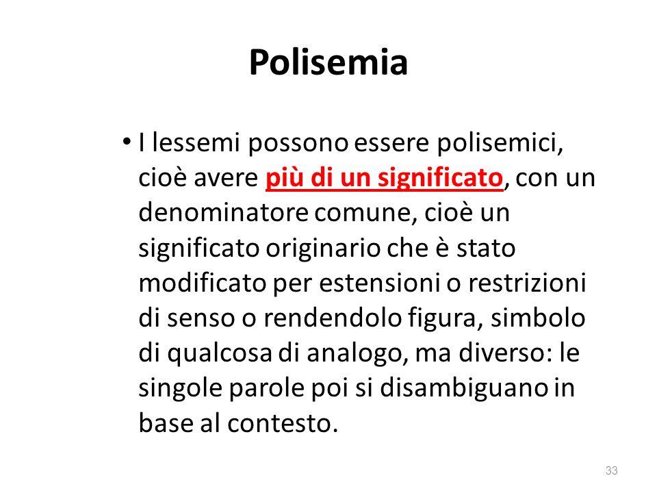 Polisemia I lessemi possono essere polisemici, cioè avere più di un significato, con un denominatore comune, cioè un significato originario che è stat
