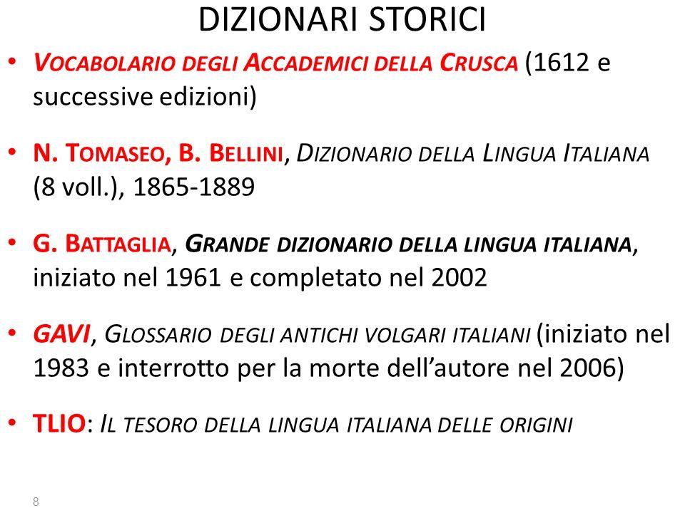 DIZIONARI STORICI V OCABOLARIO DEGLI A CCADEMICI DELLA C RUSCA (1612 e successive edizioni) N. T OMASEO, B. B ELLINI, D IZIONARIO DELLA L INGUA I TALI