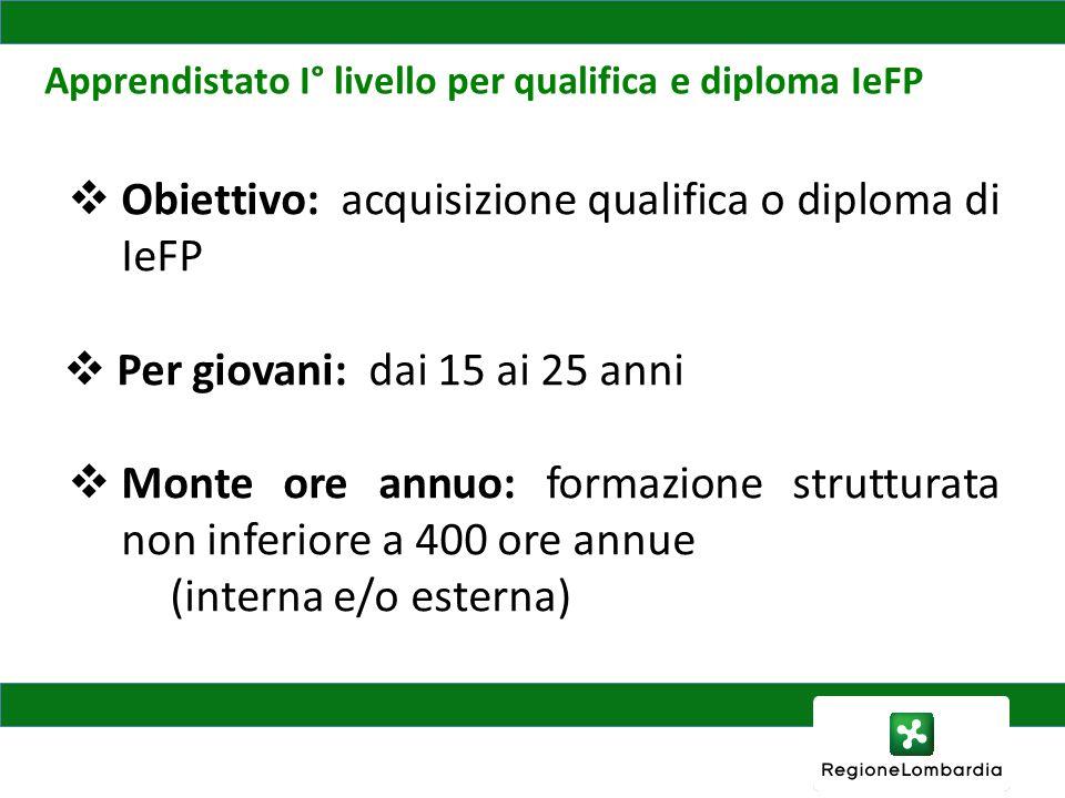 D.G. Occupazione e Politiche del Lavoro Apprendistato I° livello per qualifica e diploma IeFP Obiettivo: acquisizione qualifica o diploma di IeFP Per