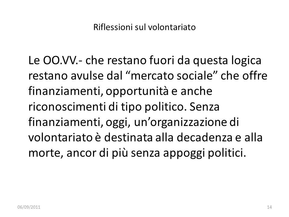 Riflessioni sul volontariato Le OO.VV.- che restano fuori da questa logica restano avulse dal mercato sociale che offre finanziamenti, opportunità e a