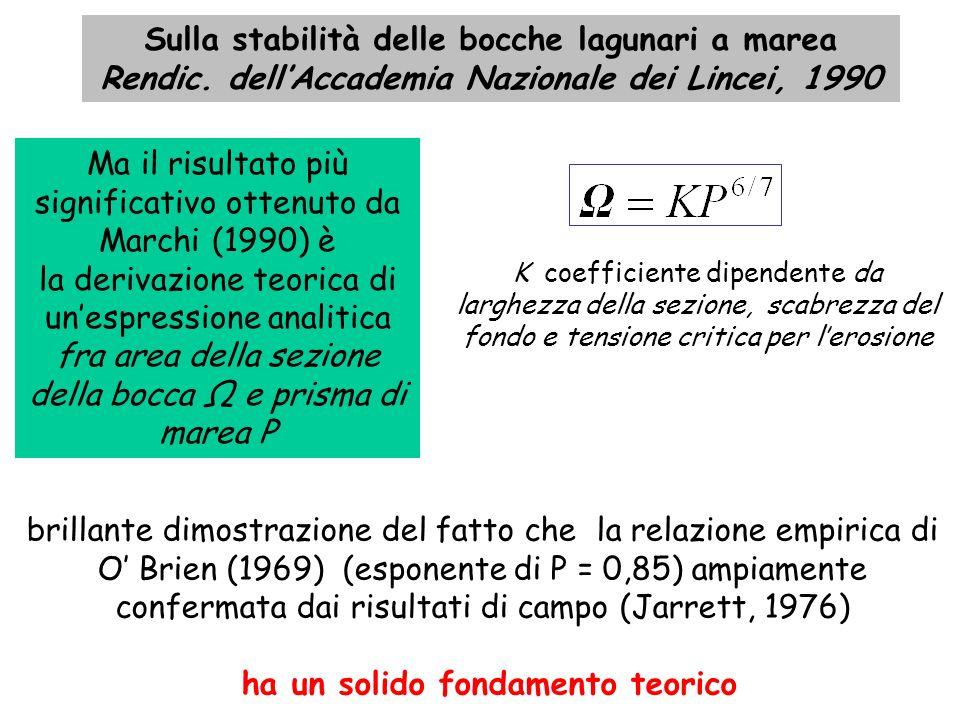 Ma il risultato più significativo ottenuto da Marchi (1990) è la derivazione teorica di unespressione analitica fra area della sezione della bocca e p