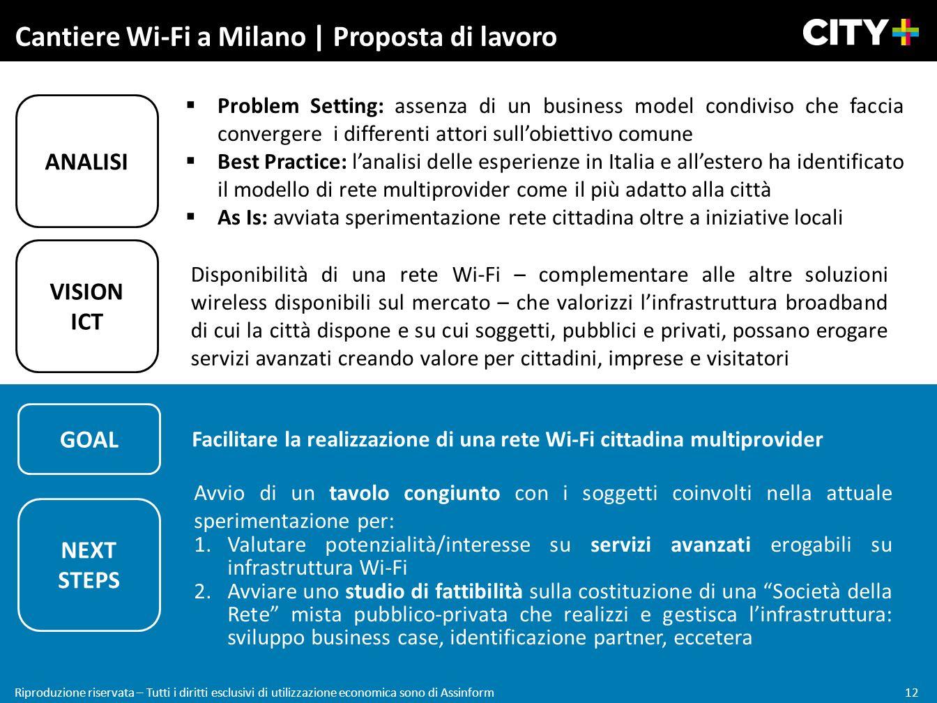 12 Riproduzione riservata – Tutti i diritti esclusivi di utilizzazione economica sono di Assinform Cantiere Wi-Fi a Milano | Proposta di lavoro VISION