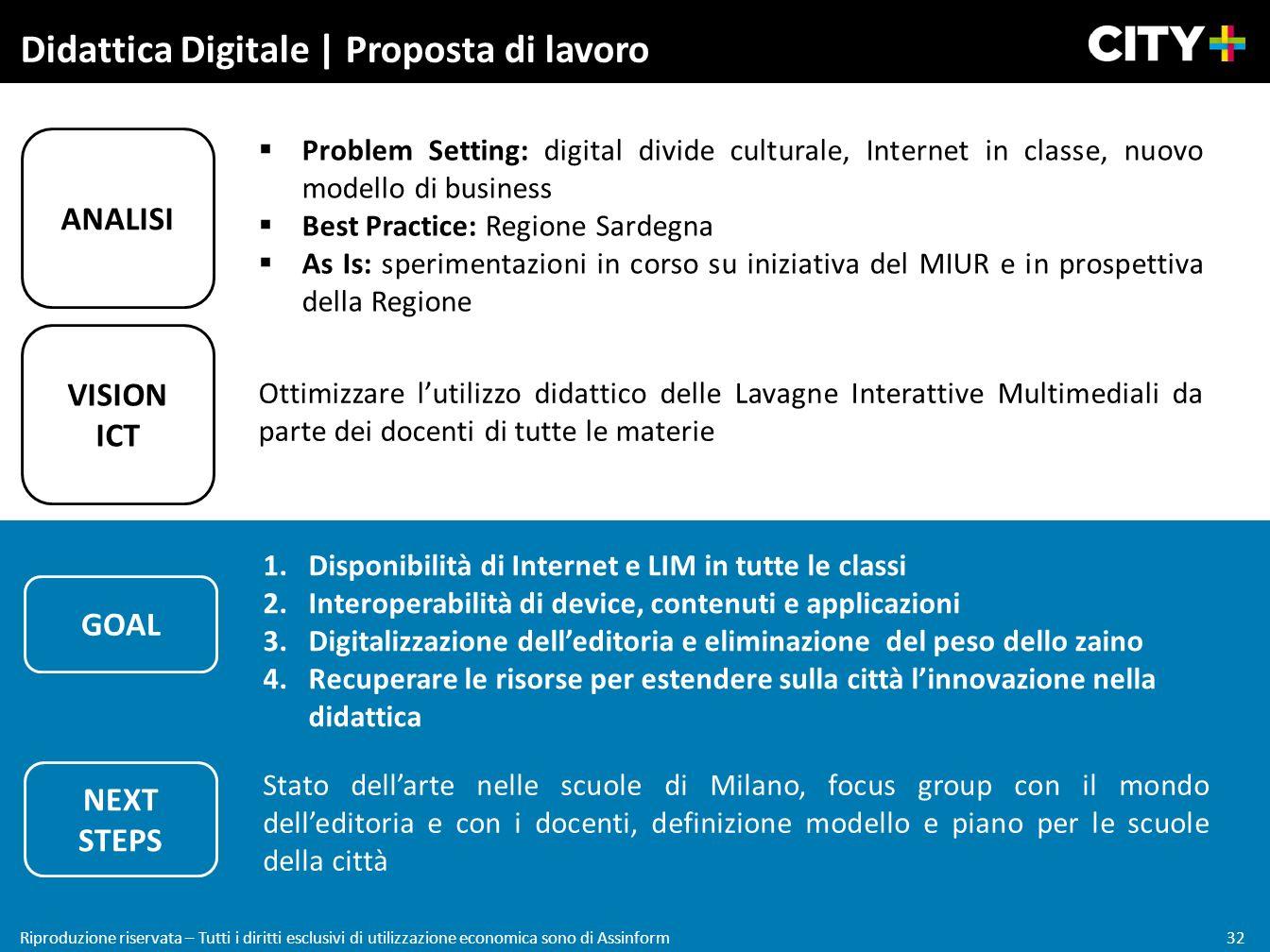 32 Riproduzione riservata – Tutti i diritti esclusivi di utilizzazione economica sono di Assinform Didattica Digitale | Proposta di lavoro VISION ICT