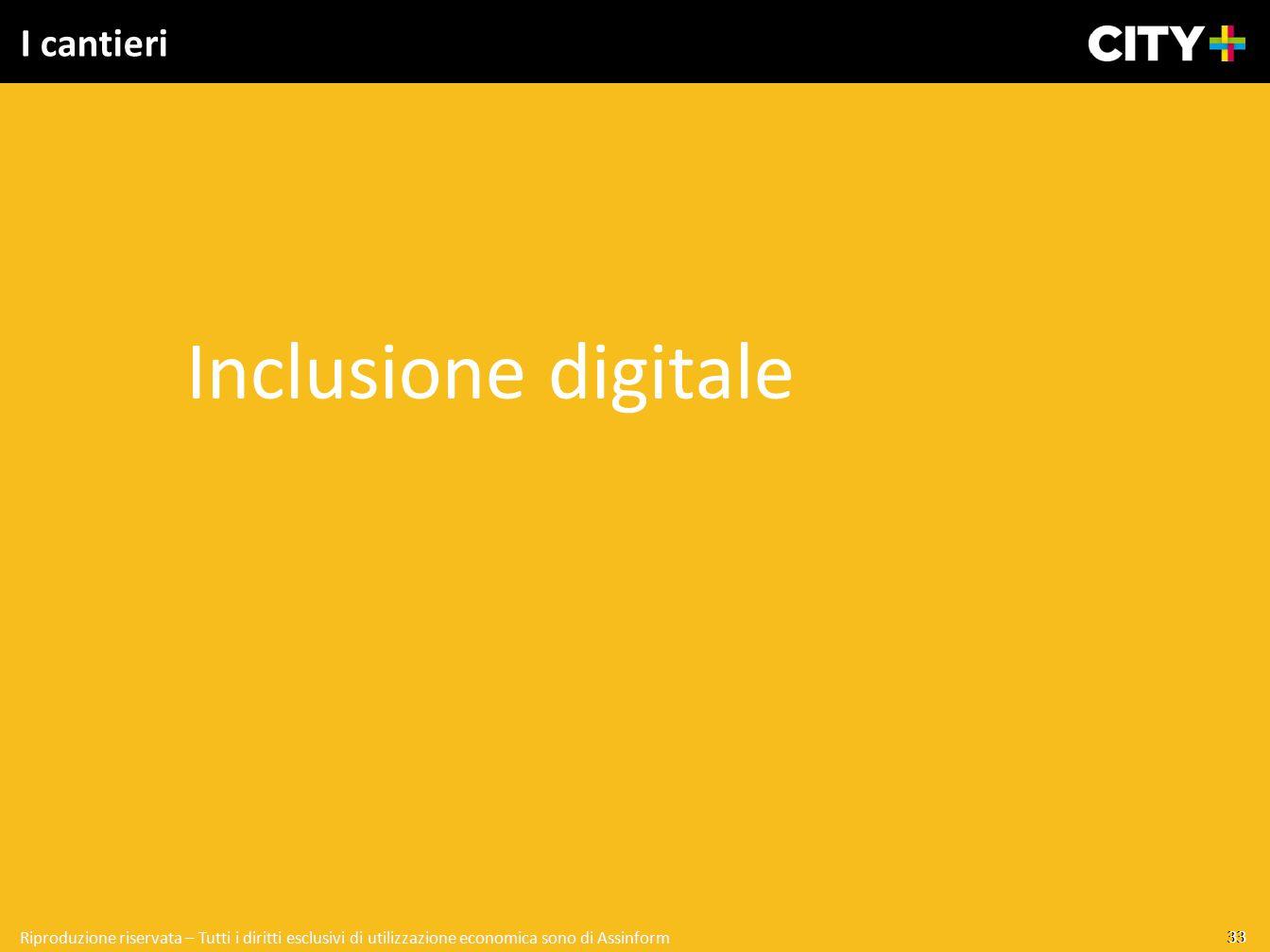 33 Riproduzione riservata – Tutti i diritti esclusivi di utilizzazione economica sono di Assinform I cantieri Inclusione digitale 33 Riproduzione rise