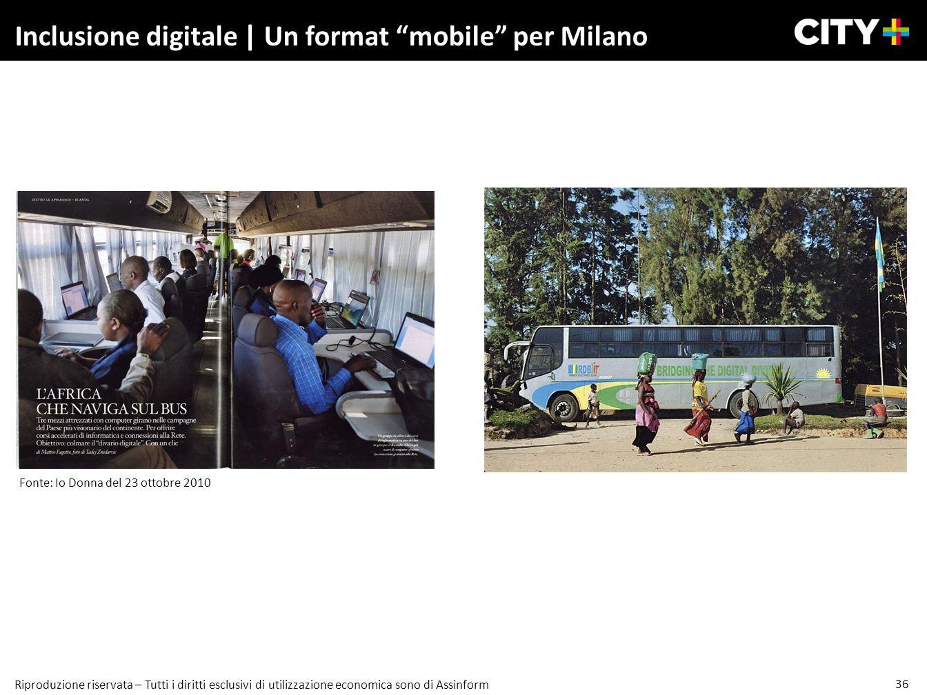 36 Riproduzione riservata – Tutti i diritti esclusivi di utilizzazione economica sono di Assinform Inclusione digitale | Un format mobile per Milano F
