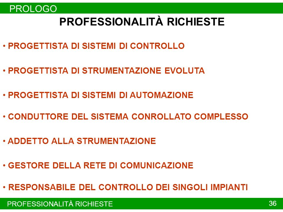 PROLOGO 35 PROFESSIONALITÀ RICHIESTE NELLAUTOMAZIONE INDUSTRIALE