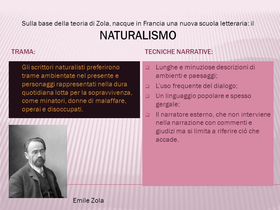 Sulla base della teoria di Zola, nacque in Francia una nuova scuola letteraria: il NATURALISMO TRAMA: Gli scrittori naturalisti preferirono trame ambi