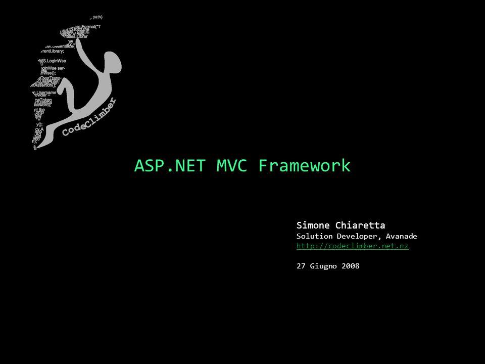ASP.NET MVC Framework Simone Chiaretta Solution Developer, Avanade http://codeclimber.net.nz 27 Giugno 2008