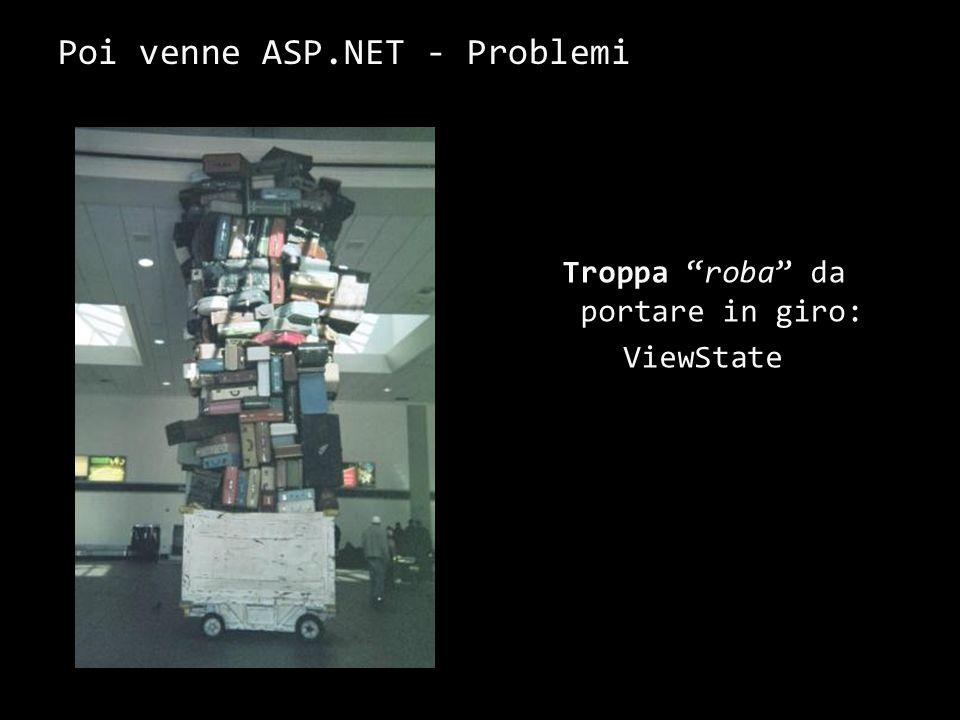 Poi venne ASP.NET - Problemi Troppa roba da portare in giro: ViewState