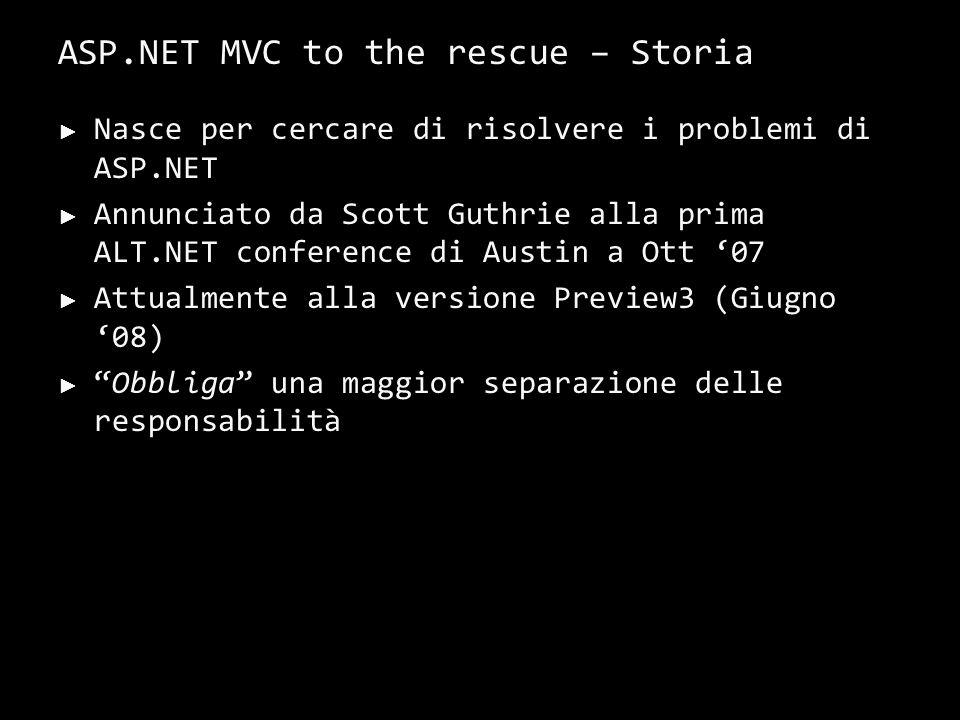 ASP.NET MVC to the rescue – Storia Nasce per cercare di risolvere i problemi di ASP.NET Annunciato da Scott Guthrie alla prima ALT.NET conference di Austin a Ott 07 Attualmente alla versione Preview3 (Giugno 08) Obbliga una maggior separazione delle responsabilità 17