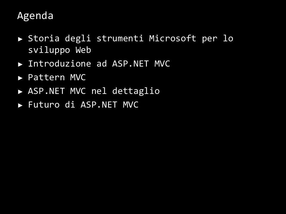Agenda Storia degli strumenti Microsoft per lo sviluppo Web Introduzione ad ASP.NET MVC Pattern MVC ASP.NET MVC nel dettaglio Futuro di ASP.NET MVC 1