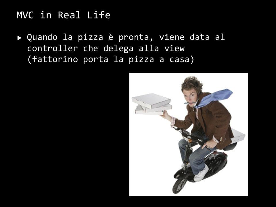 MVC in Real Life Quando la pizza è pronta, viene data al controller che delega alla view (fattorino porta la pizza a casa)
