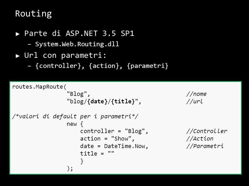 Routing Parte di ASP.NET 3.5 SP1 –System.Web.Routing.dll Url con parametri: –{controller}, {action}, {parametri} 27 routes.MapRoute(