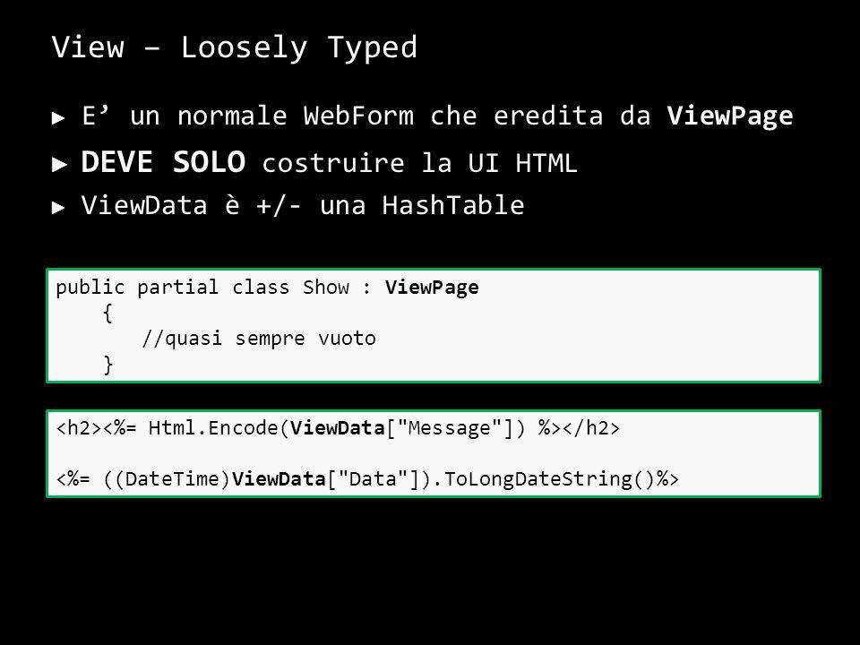View – Loosely Typed E un normale WebForm che eredita da ViewPage DEVE SOLO costruire la UI HTML ViewData è +/- una HashTable 29 public partial class Show : ViewPage { //quasi sempre vuoto }