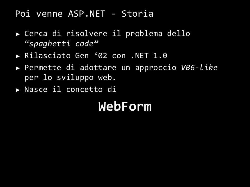 Poi venne ASP.NET - Storia Cerca di risolvere il problema dello spaghetti code Rilasciato Gen 02 con.NET 1.0 Permette di adottare un approccio VB6-like per lo sviluppo web.