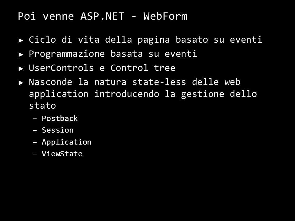 Ciclo di vita della pagina basato su eventi Programmazione basata su eventi UserControls e Control tree Nasconde la natura state-less delle web application introducendo la gestione dello stato –Postback –Session –Application –ViewState 8