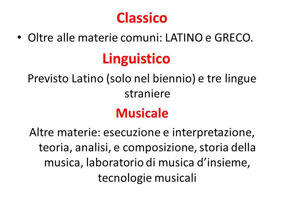 Coreutico Altre materie: storia della danza, storia della musica, tecniche della danza, laboratorio coreutico, laboratorio coreografico, teoria e pratica musicale per la danza.