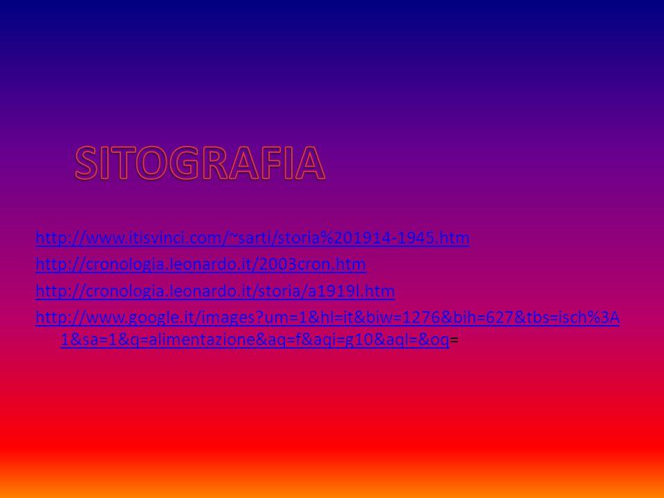 http://www.itisvinci.com/~sarti/storia%201914-1945.htm http://cronologia.leonardo.it/2003cron.htm http://cronologia.leonardo.it/storia/a1919l.htm http://www.google.it/images um=1&hl=it&biw=1276&bih=627&tbs=isch%3A 1&sa=1&q=alimentazione&aq=f&aqi=g10&aql=&oqhttp://www.google.it/images um=1&hl=it&biw=1276&bih=627&tbs=isch%3A 1&sa=1&q=alimentazione&aq=f&aqi=g10&aql=&oq=