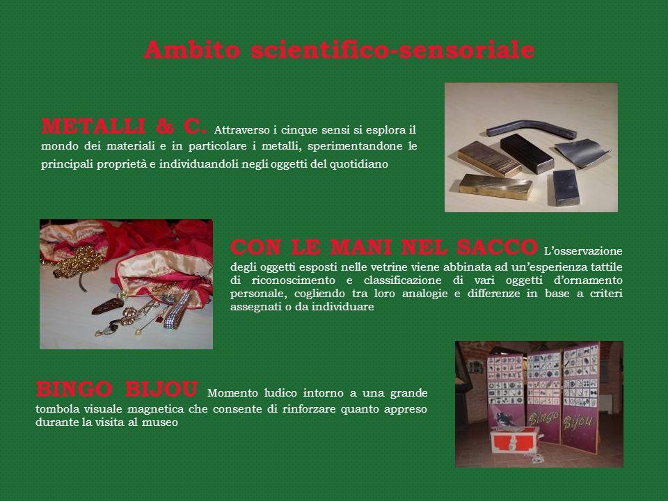 CON LE MANI NEL SACCO Losservazione degli oggetti esposti nelle vetrine viene abbinata ad unesperienza tattile di riconoscimento e classificazione di