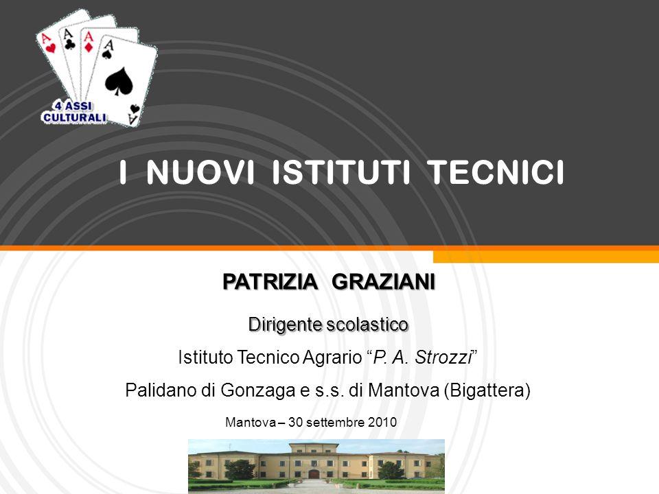 I NUOVI ISTITUTI TECNICI Mantova – 30 settembre 2010 PATRIZIA GRAZIANI Dirigente scolastico Istituto Tecnico Agrario P. A. Strozzi Palidano di Gonzaga