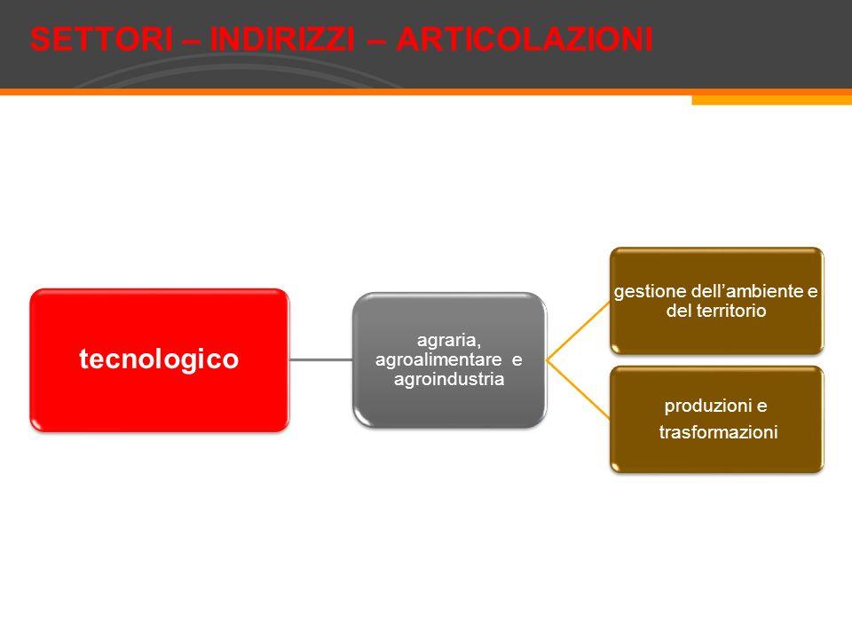 tecnologico agraria, agroalimentare e agroindustria gestione dellambiente e del territorio produzioni e trasformazioni SETTORI – INDIRIZZI – ARTICOLAZ