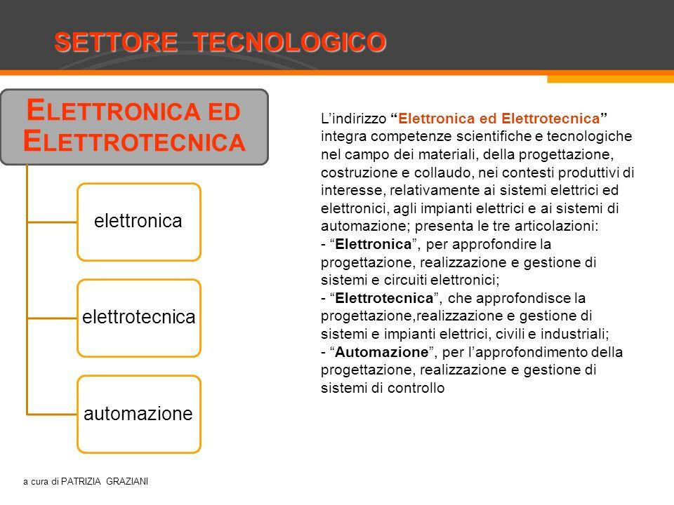 SETTORE TECNOLOGICO Costruzioni, ambiente e territorio E LETTRONICA ED E LETTROTECNICA elettronicaelettrotecnicaautomazione Lindirizzo Elettronica ed