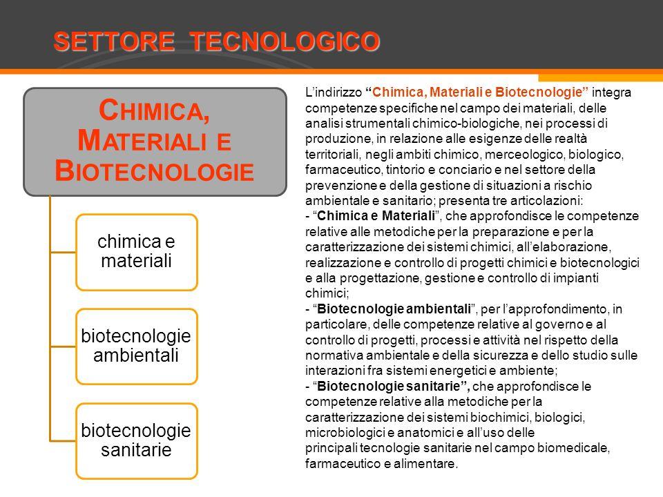 SETTORE TECNOLOGICO Costruzioni, ambiente e territorio C HIMICA, M ATERIALI E B IOTECNOLOGIE chimica e materiali biotecnologie ambientali biotecnologi