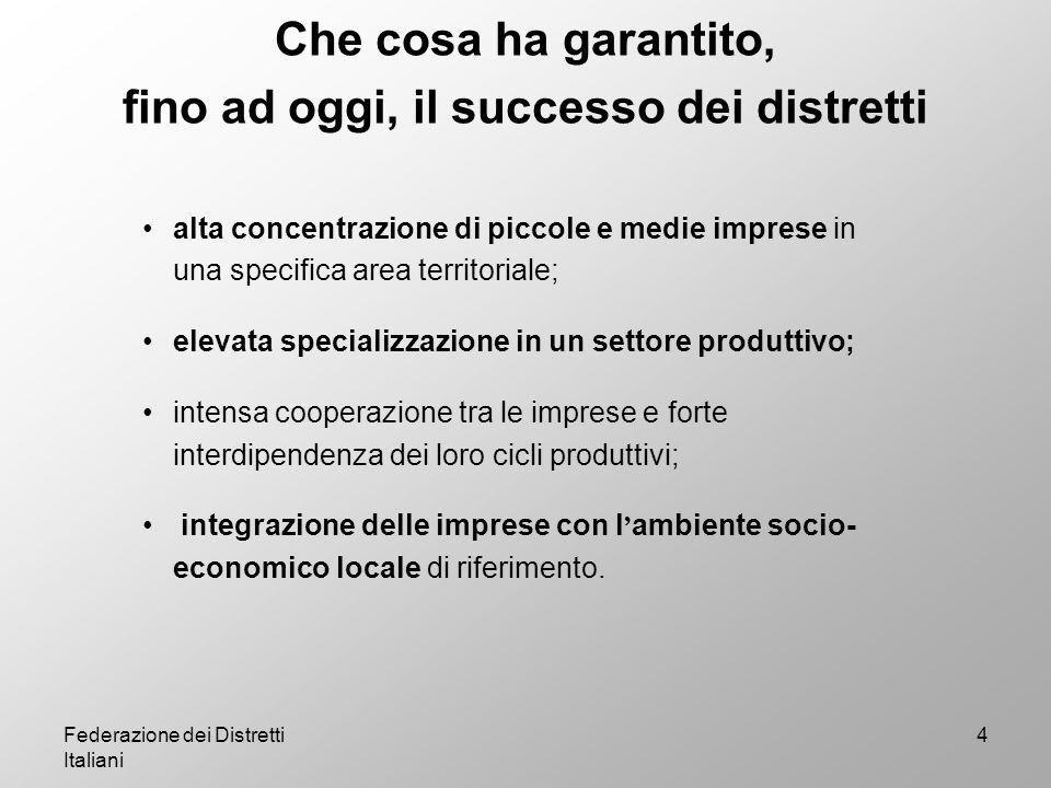 Federazione dei Distretti Italiani 5 Il principale punto di forza dei distretti è rappresentato dallo loro peculiare organizzazione permette di superare i limiti legati alla piccola dimensione delle aziende.