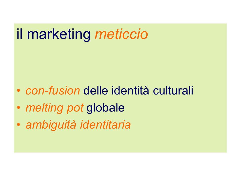 il marketing meticcio con-fusion delle identità culturali melting pot globale ambiguità identitaria